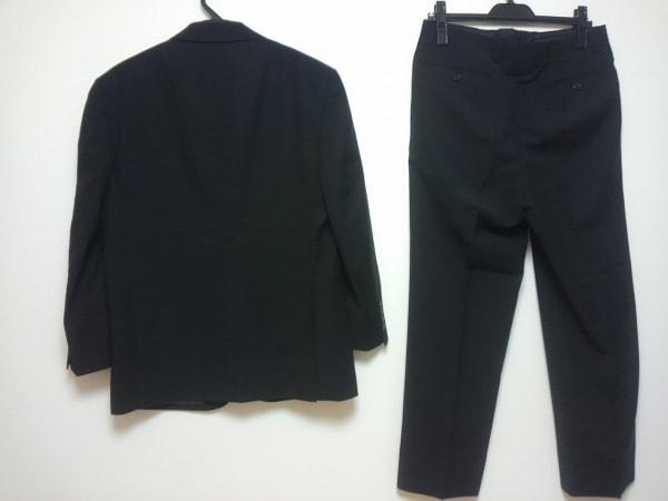 ランバンコレクション シングルスーツ メンズ 黒 肩パッド/ネーム刺繍/薄手