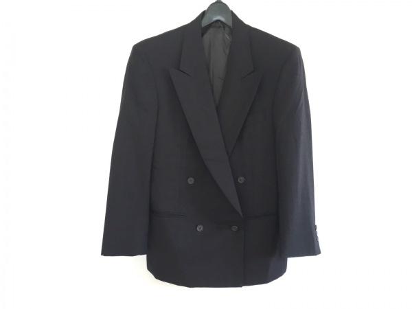 ゼニア ジャケット サイズ46 XL メンズ美品  黒×レッド 肩パッド/ストライプ