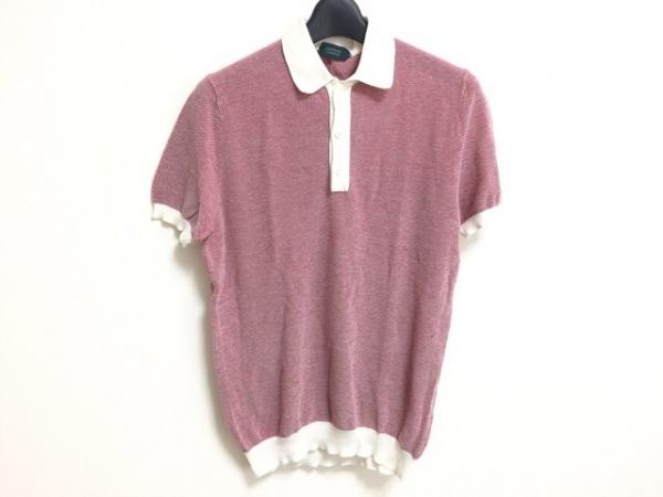 ZANONE(ザノーネ) 半袖ポロシャツ サイズ50 XL レディース レッド×白