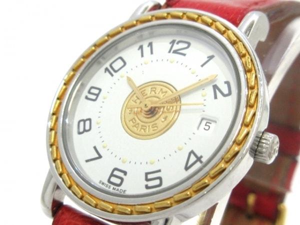 エルメス 腕時計 セリエ - レディース オーストリッチベルト/〇Y 白×ゴールド