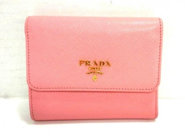 PRADA(プラダ) 3つ折り財布美品  - 1MH840 ピンク サフィアーノメタル