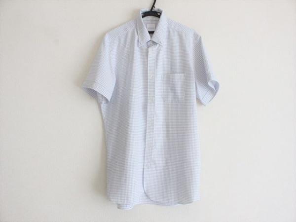 マッキントッシュフィロソフィー 半袖シャツ サイズ42 L メンズ美品  白×ブルー