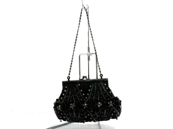 MOYNA(モイナ) ハンドバッグ美品  黒×グレー×クリア がま口/ビジュー/スパンコール