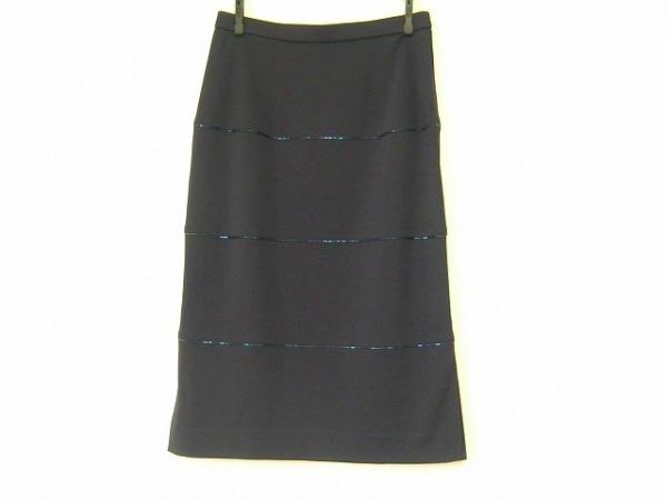 LEONARD(レオナール) スカート サイズ67 レディース美品  ネイビー ビーズ/FASHION
