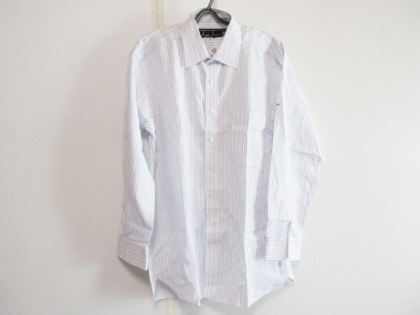 ダンヒル 長袖シャツ サイズGI メンズ 白×ネイビー ストライプ/イニシャル刺繍