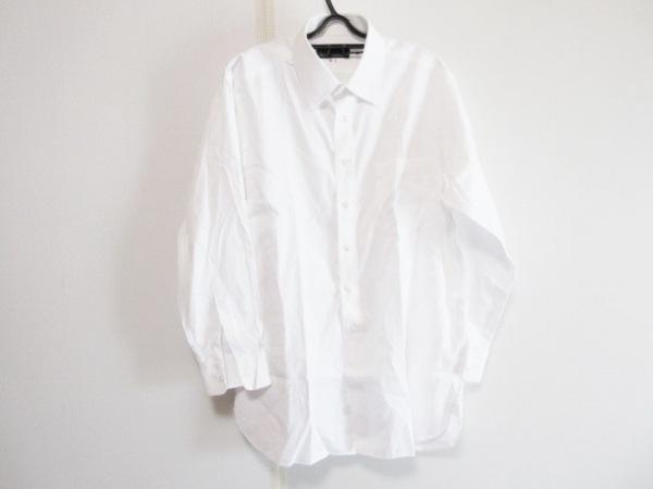 ダンヒル 長袖シャツ サイズGI メンズ 白 ストライプ/イニシャル刺繍