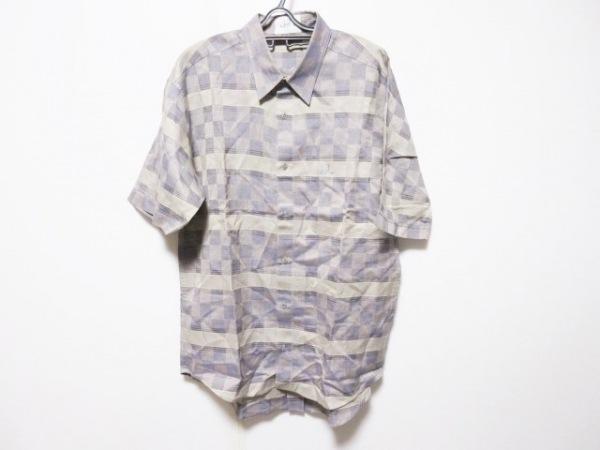 ダンヒル 半袖シャツ サイズL メンズ カーキ×グレー×マルチ チェック柄