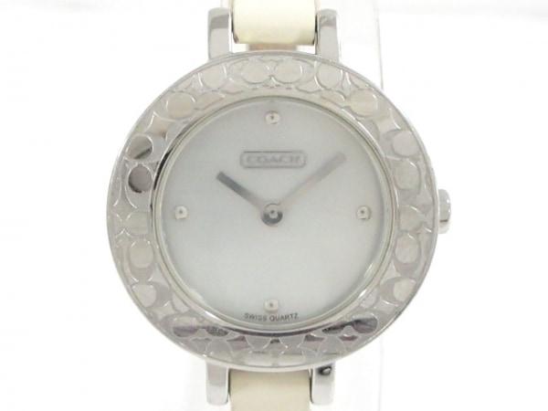 コーチ 腕時計美品  ミニシグネチャー柄 CA.25.7.14.0368 レディース アイボリー