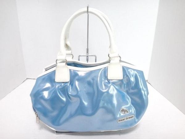 HealCreek(ヒールクリーク) ハンドバッグ ブルー×白 化学繊維×エナメル(レザー)