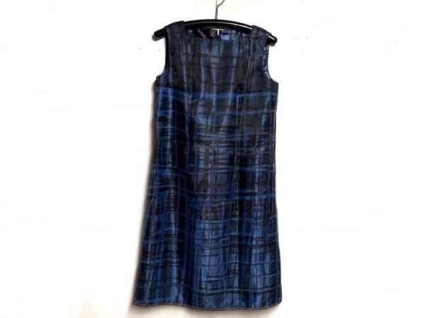 ランバンコレクション ワンピース サイズ40 M レディース美品  ブルー×黒