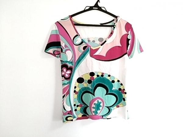 エミリオプッチ 半袖Tシャツ サイズM レディース美品  白×ボルドー×マルチ