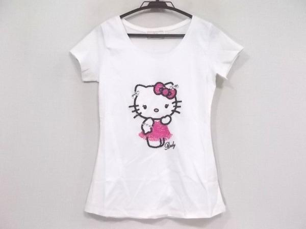 レディ 半袖Tシャツ サイズF レディース美品  白×ピンク×黒 ハローキティ/ビーズ