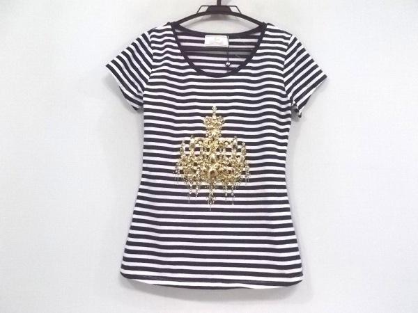 レディ 半袖Tシャツ サイズF レディース新品同様  ダークネイビー×白×ゴールド