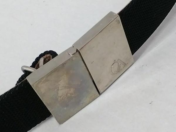 GIORGIOARMANI(ジョルジオアルマーニ) ベルト 38 黒×ベージュ 化学繊維×レザー