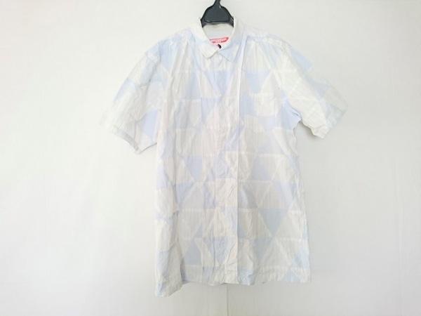 アンダーカバイズム 半袖シャツ サイズL メンズ 白×ライトブルー ストライプ