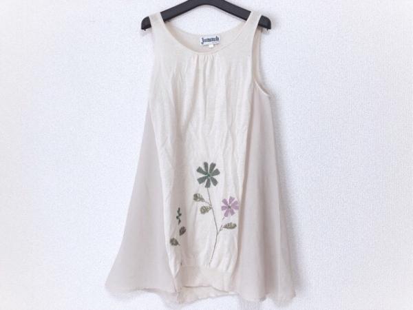 ホコモモラ ワンピース サイズ40 XL レディース アイボリー×マルチ シースルー/刺繍