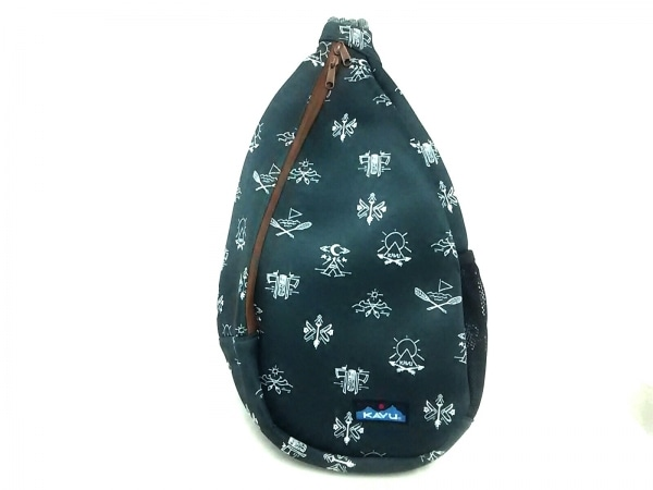 KAVU(カブー) ワンショルダーバッグ新品同様  ダークグリーン×黒×ブラウン 化学繊維