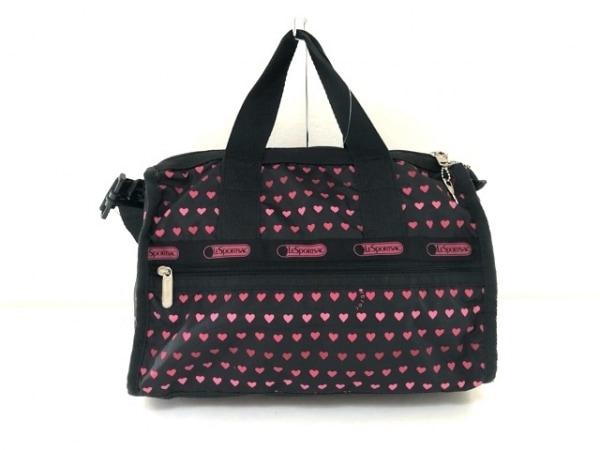 LESPORTSAC(レスポートサック) ハンドバッグ 黒×ピンク ハート レスポナイロン