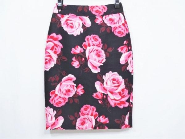 ケイトスペード スカート サイズ00 XS レディース 黒×ピンク×マルチ 花柄