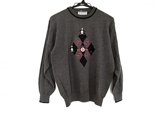 マンシングウェア 長袖セーター サイズM レディース美品  グレー×黒×マルチ 刺繍