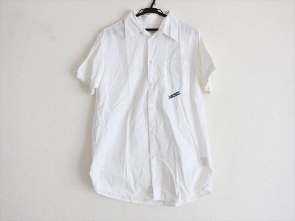 DIESEL(ディーゼル) 半袖シャツ サイズXXL XL メンズ 白×グリーン