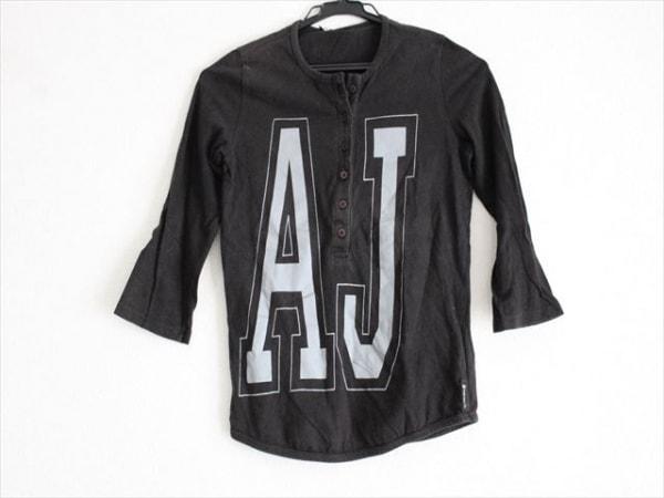 アルマーニジーンズ 七分袖Tシャツ サイズI38 レディース ダークグレー×ライトグレー