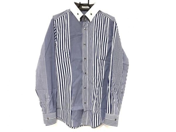 ナラカミーチェ 長袖シャツ サイズM メンズ美品  ブルー×白×ライトブルー