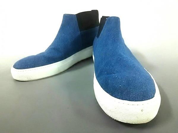 エーエムビー ショートブーツ 42 メンズ美品  ブルー×黒 キャンバス