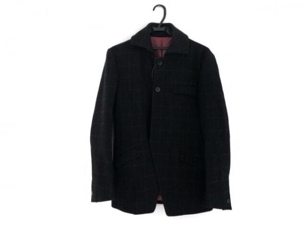 リーツテイラーザズー コート サイズ38 M メンズ 黒×ボルドー チェック柄/冬物