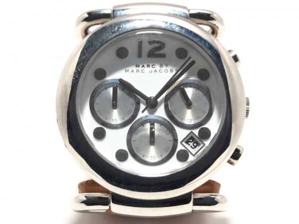 マークジェイコブス 腕時計美品  MBM1175 レディース クロノグラフ/革ベルト 白