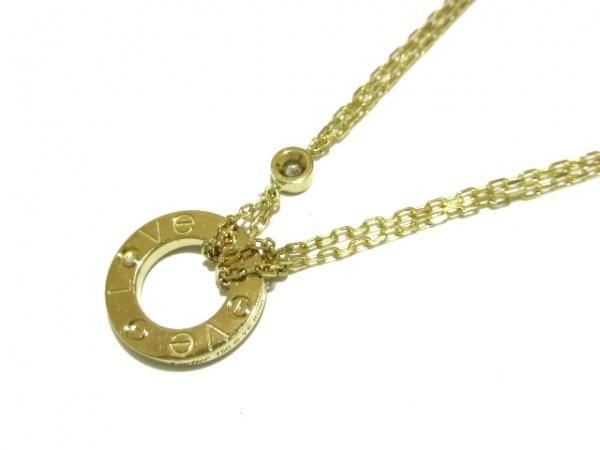 カルティエ ネックレス美品  ラブサークル B7219500 K18YG×ダイヤモンド 2Pダイヤ