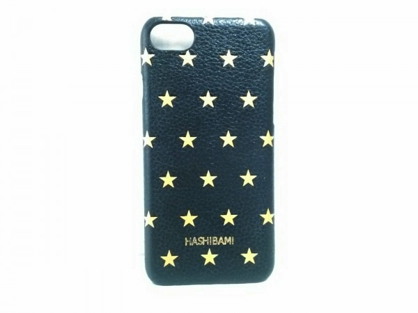 HASHIBAMI(ハシバミ) 携帯電話ケース 黒×ゴールド スター/i-phone7(6/6S)ケース