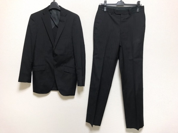 VISARUNO(ビサルノ) シングルスーツ メンズ美品  黒×グレー ストライプ
