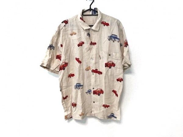 Papas(パパス) 半袖シャツ サイズM メンズ グレージュ×レッド×マルチ リネン/車柄