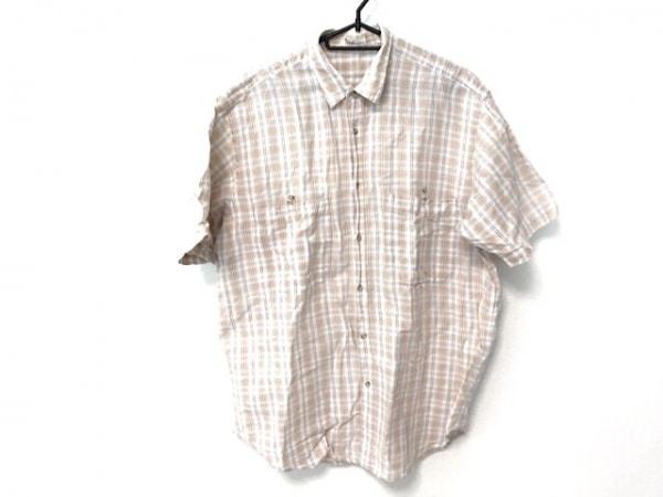 Papas(パパス) 半袖シャツ サイズS メンズ 白×オレンジ×マルチ リネン混/チェック柄
