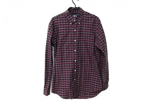 ラルフローレン 長袖シャツ サイズS メンズ美品  グリーン×レッド×マルチ