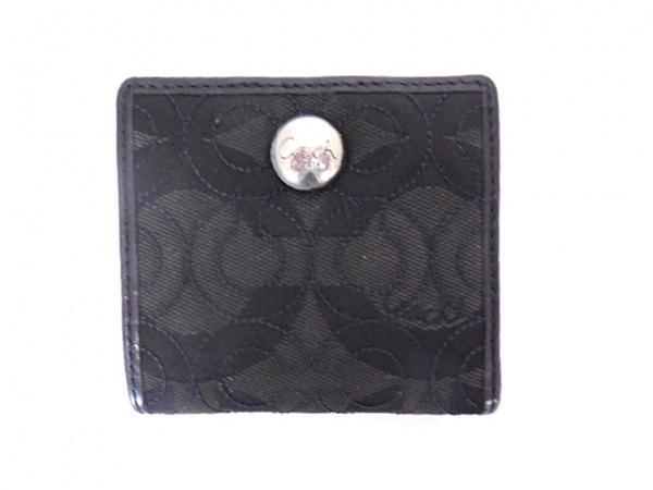 COACH(コーチ) 2つ折り財布 オプアート 黒×ダークグレー ジャガード