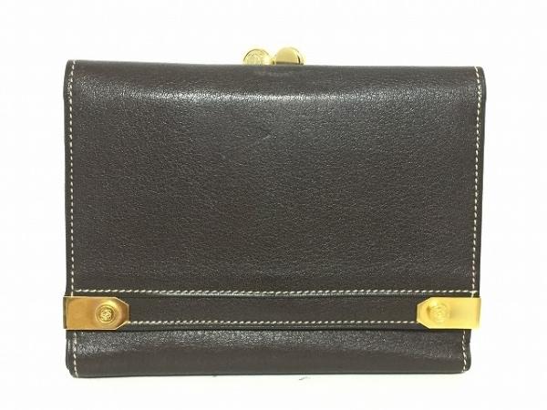 LOEWE(ロエベ) 3つ折り財布 - ダークブラウン×ゴールド がま口 レザー×金属素材