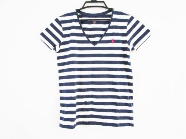 ポロラルフローレン 半袖Tシャツ サイズM レディース ネイビー×白 ボーダー
