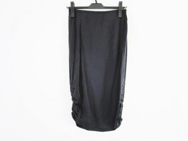 ジョルジオアルマーニ スカート サイズ38 S レディース 黒 サイドギャザー