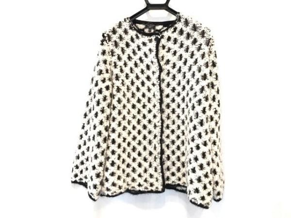 アルマーニジーンズ コート サイズ40 M レディース美品  白×黒 ニット/春・秋物