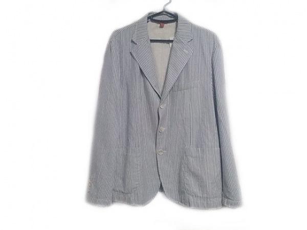BARENA(バレナ) ジャケット メンズ ライトブルー×白 ストライプ