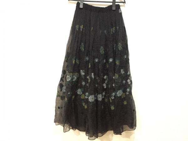 HaaT HeaRT(ハート) ロングスカート サイズ2 M レディース新品同様  黒×マルチ