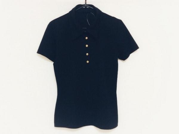 INGEBORG(インゲボルグ) 半袖ポロシャツ サイズM レディース 黒×ゴールド フラワー