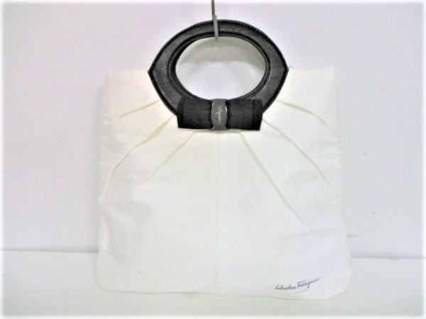 サルバトーレフェラガモ パフューム トートバッグ ヴァラ 白×黒 コットン×合皮