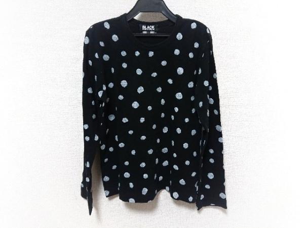 ブラックコムデギャルソン 長袖Tシャツ サイズL レディース美品  黒×白 ドット柄