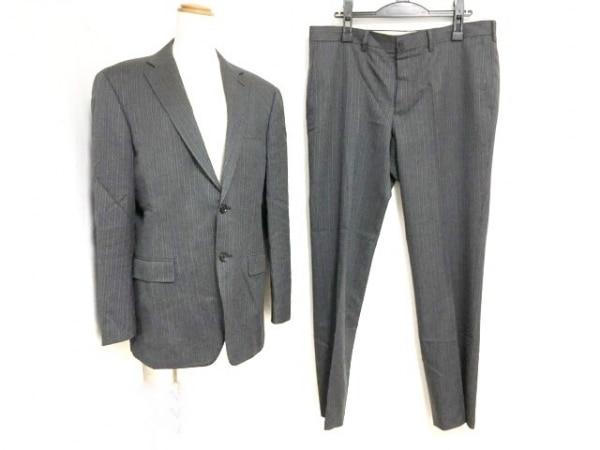 DURBAN(ダーバン) シングルスーツ メンズ ダークグレー×白 ストライプ/肩パッド