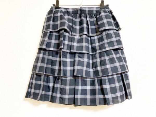 ヨークランド ミニスカート レディース美品  黒×ライトブルー×ライトブラウン