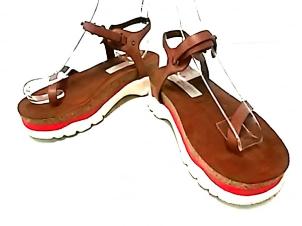 ステラマッカートニー サンダル 36 レディース美品  ライトブラウン×レッド 合皮