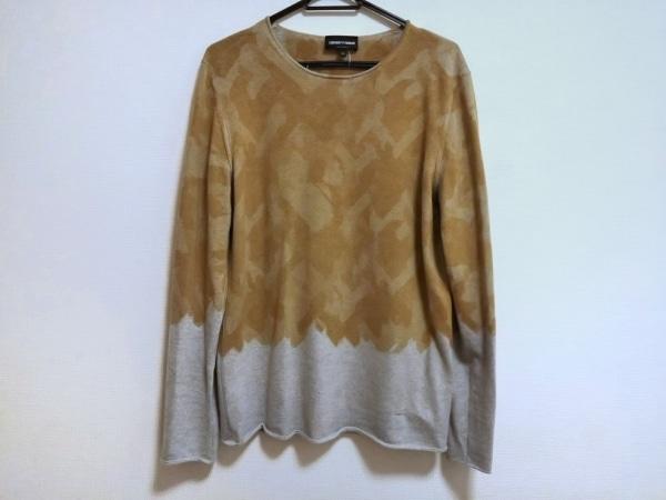 エンポリオアルマーニ 長袖セーター サイズ50 M メンズ ライトブラウン×ライトグレー